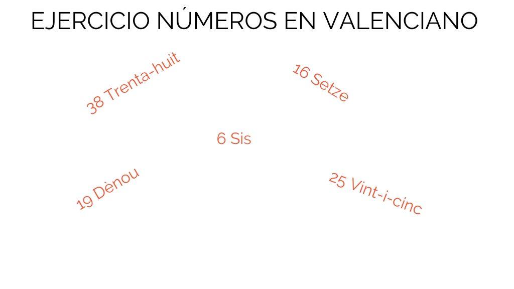 Ejercicio números en valenciano del 1 al 40