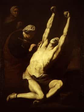 san sebastian atendido por las santas elena y lucina jose de ribera pintores valencianos